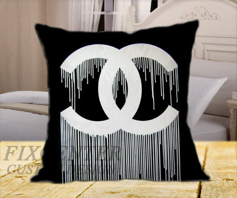 "Black Chanel Drip on Square Pillow Cover 16"" X 16"" / one side, Square Pillow Case - fixcenters, fixcenters"