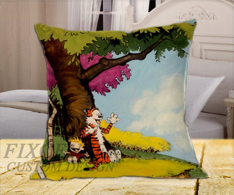 "Calvin and Hobbes Laugh on Square Pillow Cover 16"" X 16"" / one side, Square Pillow Case - fixcenters, fixcenters"