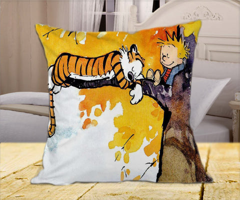 "Calvin and Hobbes Sleeping on Tree on Square Pillow Cover 16"" X 16"" / one side, Square Pillow Case - fixcenters, fixcenters"