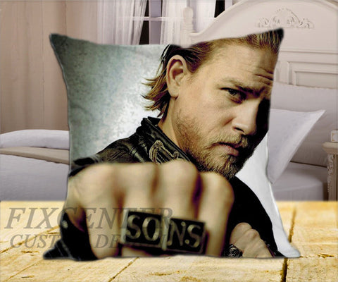 "Charlie Hunnam on Square Pillow Cover 16"" X 16"" / one side, Square Pillow Case - fixcenters, fixcenters"
