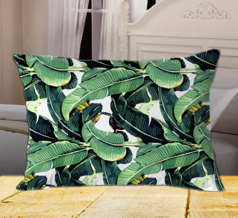 "Cute Tropical Banana Leaf Pattern on Rectangle Pillow Cover 20"" X 26"" / one side, Rectangle Pillow Case - fixcenters, fixcenters"