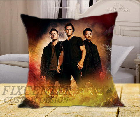 "Dean Sam Castiel Supernatural  on Square Pillow Cover 16"" X 16"" / one side, Square Pillow Case - fixcenters, fixcenters"