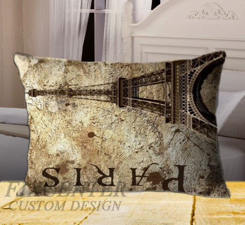 "Eiffel Tower Paris on Rectangle Pillow Cover 20"" X 26"" / one side, Rectangle Pillow Case - fixcenters, fixcenters"