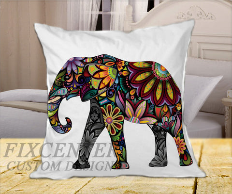 "Elephant on Square Pillow Cover 16"" X 16"" / one side, Square Pillow Case - fixcenters, fixcenters"