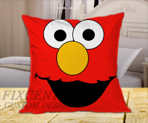 "Elmo Face  on Square Pillow Cover 16"" X 16"" / one side, Square Pillow Case - fixcenters, fixcenters"