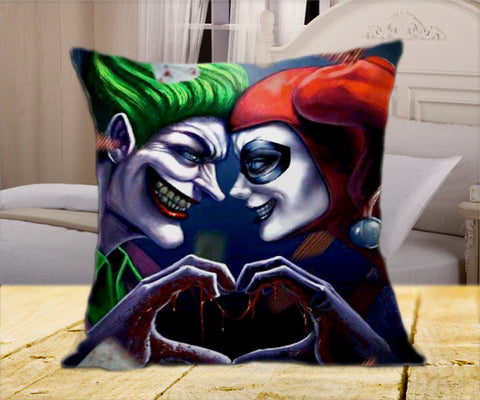 "Face2Face Harley Quinn and The Joker Love on Square Pillow Cover 16"" X 16"" / one side, Square Pillow Case - fixcenters, fixcenters"