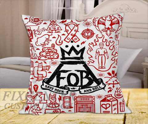 "Fall Out Boy  on Square Pillow Cover 16"" X 16"" / one side, Square Pillow Case - fixcenters, fixcenters"
