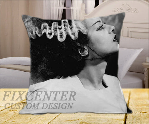 "Frankenstein and Bride of Frankenstein His and Hers  on Square Pillow Cover 16"" X 16"" / one side, Square Pillow Case - fixcenters, fixcenters"