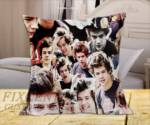 "Harry Style Collage One Direction  on Square Pillow Cover 16"" X 16"" / one side, Square Pillow Case - fixcenters, fixcenters"