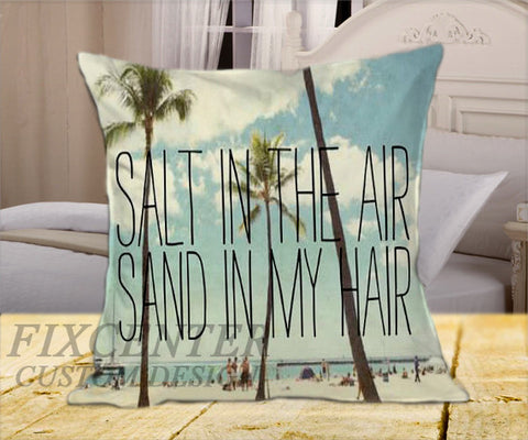 "Hawai  salt in the air sand in my hair on Square Pillow Cover 16"" X 16"" / one side, Square Pillow Case - fixcenters, fixcenters"