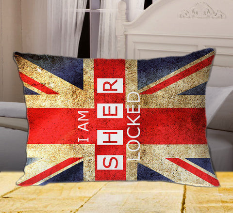"I Am Sherlocked Union Jack British Flag Vintage Sherlock Holmes on Rectangle Pillow Cover 20"" X 26"" / one side, Rectangle Pillow Case - fixcenters, fixcenters"