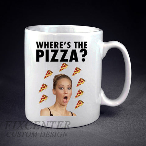 Jennifer Lawrence Wheres The Pizza Personalized mug/cup , mug / cup - fixcenters, fixcenters  - 1