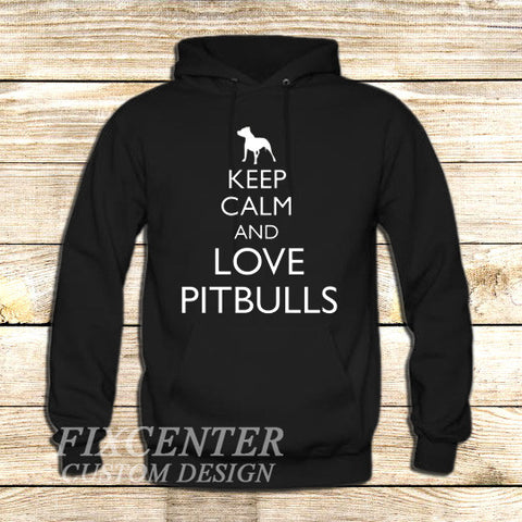 Keep Calm and Love Pitbulls on Hoodie Jacket XS / Black, hoodie - fixcenters, fixcenters  - 1