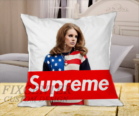 "Lana Del Rey Supreme on Square Pillow Cover 16"" X 16"" / one side, Square Pillow Case - fixcenters, fixcenters"