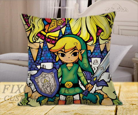 "Legend of Zelda Triforce  on Square Pillow Cover 16"" X 16"" / one side, Square Pillow Case - fixcenters, fixcenters"