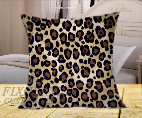 "Leopard Print Velvet on Square Pillow Cover 16"" X 16"" / one side, Square Pillow Case - fixcenters, fixcenters"