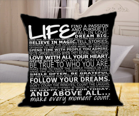 "Life Quote Black on Square Pillow Cover 16"" X 16"" / one side, Square Pillow Case - fixcenters, fixcenters"