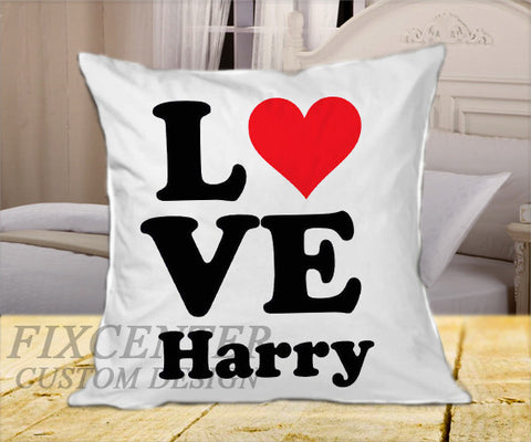 "Love Harry Style 1D  on Square Pillow Cover 16"" X 16"" / one side, Square Pillow Case - fixcenters, fixcenters"