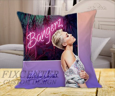 "Miley Cyrus Bangerz Purple on Square Pillow Cover 16"" X 16"" / one side, Square Pillow Case - fixcenters, fixcenters"