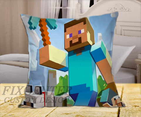 "Minecraft Mine Craft  on Square Pillow Cover 16"" X 16"" / one side, Square Pillow Case - fixcenters, fixcenters"