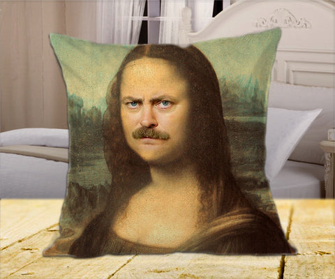 "Monaron Ron Swanson Mona Lisa  on Square Pillow Cover 16"" X 16"" / one side, Square Pillow Case - fixcenters, fixcenters"