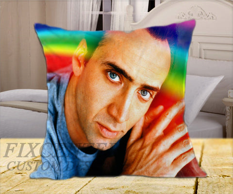 "Nicolas Cage Rainbow on Square Pillow Cover 16"" X 16"" / one side, Square Pillow Case - fixcenters, fixcenters"