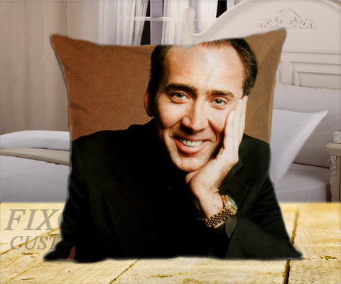 "Nicolas Cage Smile on Square Pillow Cover 16"" X 16"" / one side, Square Pillow Case - fixcenters, fixcenters"