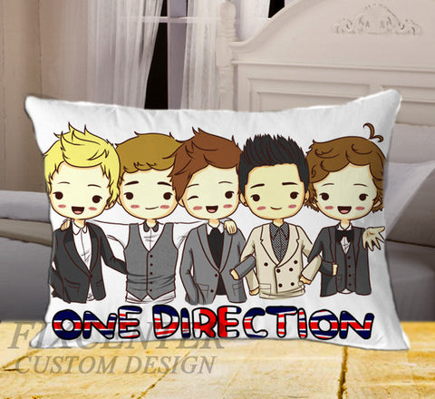 "ONE Direction Cartoon on Rectangle Pillow Cover 20"" X 26"" / one side, Rectangle Pillow Case - fixcenters, fixcenters"