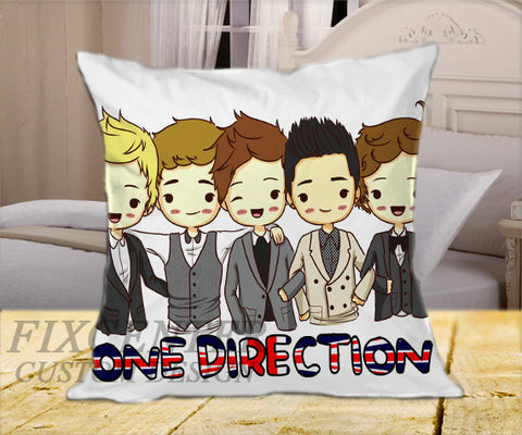 "One Direction Cartoon on Square Pillow Cover 16"" X 16"" / one side, Square Pillow Case - fixcenters, fixcenters"