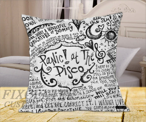 "Panic at The Disco Lyric  on Square Pillow Cover 16"" X 16"" / one side, Square Pillow Case - fixcenters, fixcenters"