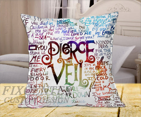 "Pierce The Veil Lyric Collage  on Square Pillow Cover 16"" X 16"" / one side, Square Pillow Case - fixcenters, fixcenters"