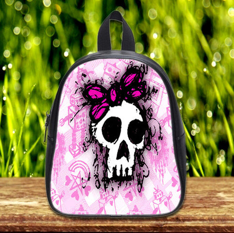 Pink Sketched Skull Princess cute Pre-School Backpack - School Bag Small (S) / Black, School Bag - fixcenters, fixcenters  - 1