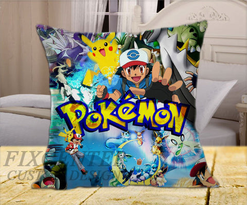 "Pokemon All Character on Square Pillow Cover 16"" X 16"" / one side, Square Pillow Case - fixcenters, fixcenters"