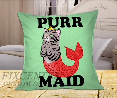 "Purr Maid on Square Pillow Cover 16"" X 16"" / one side, Square Pillow Case - fixcenters, fixcenters"