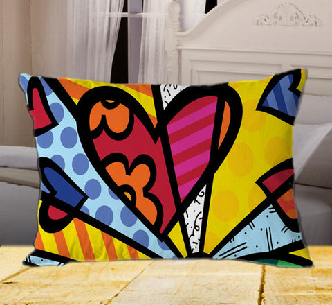 "Romero Britto on Rectangle Pillow Cover 20"" X 26"" / one side, Rectangle Pillow Case - fixcenters, fixcenters"