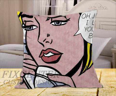 "Roy Lichtenstein Pop Art Sexy Girl Linen Popular Art Cartoon  on Square Pillow Cover 16"" X 16"" / one side, Square Pillow Case - fixcenters, fixcenters"