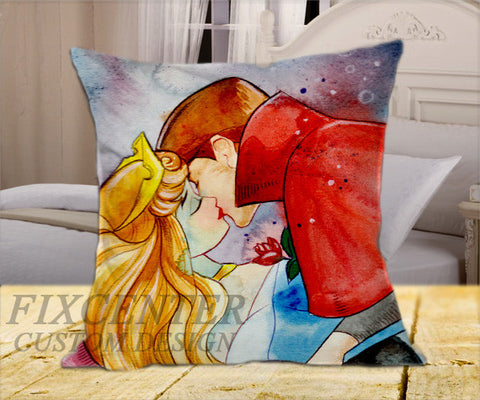 "Sleeping Beauty Kiss  on Square Pillow Cover 16"" X 16"" / one side, Square Pillow Case - fixcenters, fixcenters"