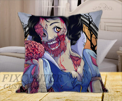 "Snow White Princess Zombie on Square Pillow Cover 16"" X 16"" / one side, Square Pillow Case - fixcenters, fixcenters"