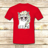 Sulk Cat Elsa Let it go on T shirt S / Red / Men, tshirt - fixcenters, fixcenters  - 7