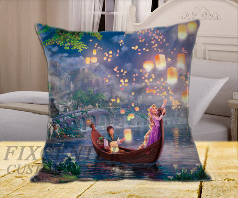 "Tangled Walt Disney on Square Pillow Cover 16"" X 16"" / one side, Square Pillow Case - fixcenters, fixcenters"