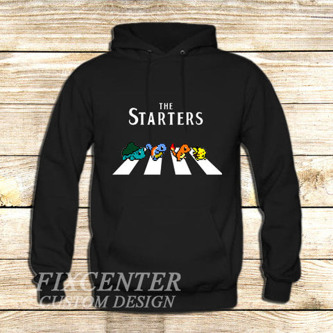 The Starters Pokemon Abbey Road on Hoodie Jacket XS / Black, hoodie - fixcenters, fixcenters  - 1
