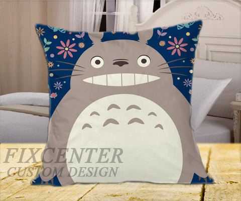 "Totoro My Neighborhood on Square Pillow Cover 16"" X 16"" / one side, Square Pillow Case - fixcenters, fixcenters"