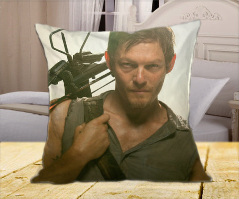"WALKING DEAD Daryl Dyxon  on Square Pillow Cover 16"" X 16"" / one side, Square Pillow Case - fixcenters, fixcenters"