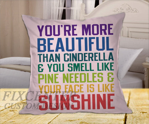 "You're More Beautiful Bridesmaids on Square Pillow Cover 16"" X 16"" / one side, Square Pillow Case - fixcenters, fixcenters"