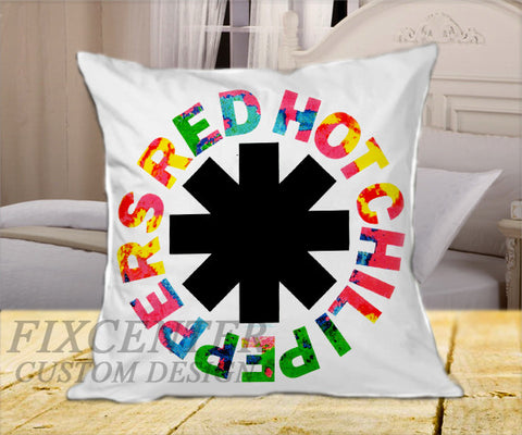 "red hot chili peppers rock band logo on Square Pillow Cover 16"" X 16"" / one side, Square Pillow Case - fixcenters, fixcenters"