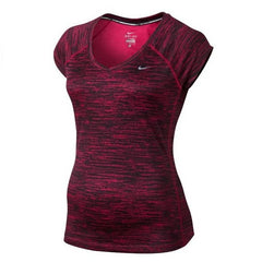 Nike Women's Dri Fit Printed Miler V-Neck Shirt