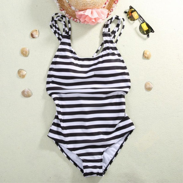 Women's One Piece Monokini Striped Swimsuit