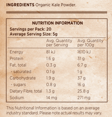 Raw Kale Powder Organic At Natural Zealand