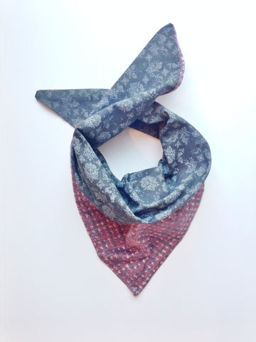 Reversible Tweed and Black Paisley Scarf