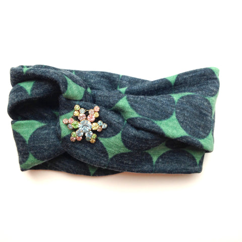 Retro Print Turban Style Headband - Vintage Tricolored Flower
